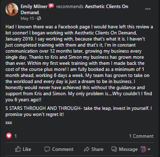 Emily Milner Testimonial